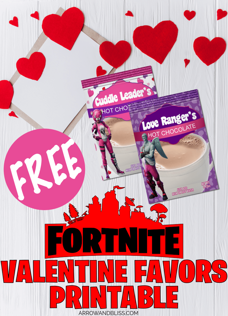 Check out these FREE Fortnite Valentine favor cocoa packet printables at Arrow and Bliss.