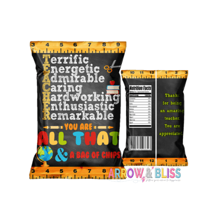 Teacher Appreciation free printable, teacher appreciation chip bag