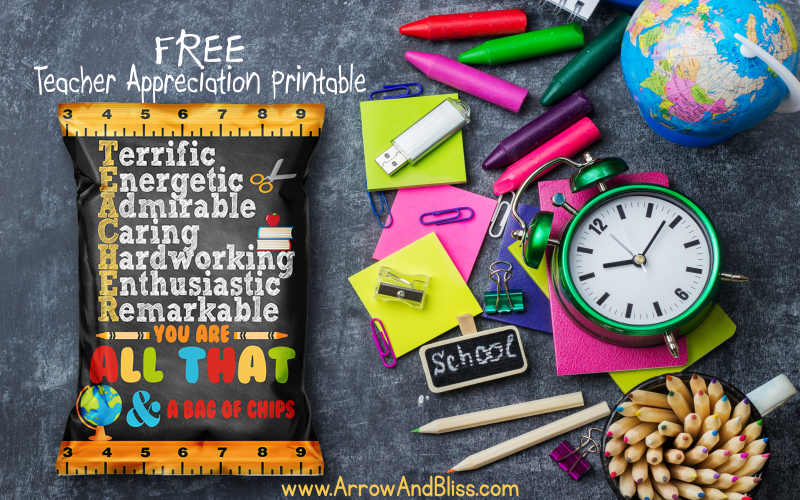 FREE Teacher Appreciation Chip Bag Printable