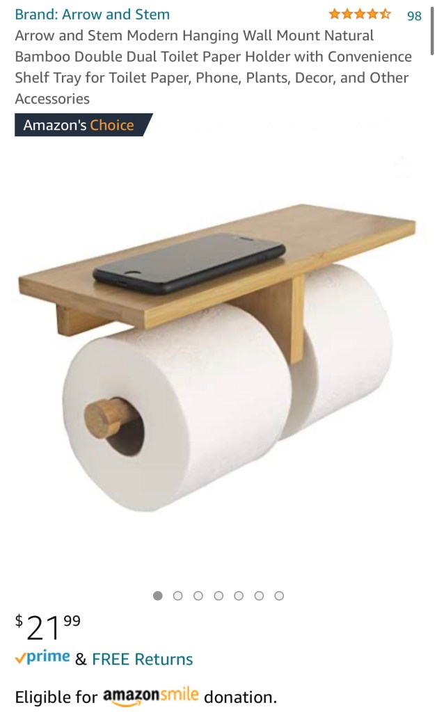 bamboo double toilet paper holder with accessories shelf ratings