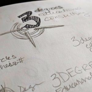 pencil sketch of 3 degrees logo