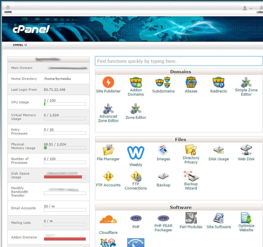 screenprint of cpanel interface