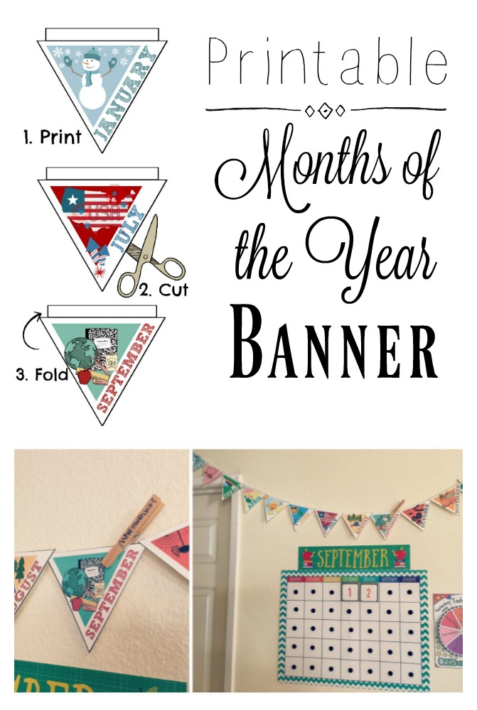 picture regarding Printable Months of the Year called Printable Weeks Of The Calendar year Banner - Arrows Applesauce