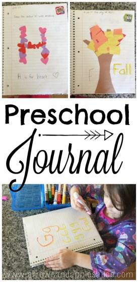 Ideas for preschool journaling. Alphabet and number practice for homeschool.