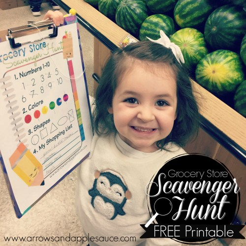 Free printable scavenger hunt game for preschoolers. Learn anywhere, even the grocery store! Review colors, shapes, numbers, and letter sounds.
