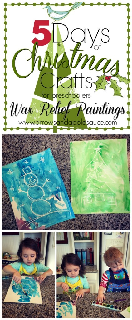 Day four of our Five Days of Christmas Crafts tradition! Today we did wax relief watercolor paintings. A favorite from my childhood. The kids loved it!