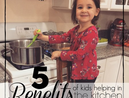 Five benefits of having kids help it the kitchen. From building vocabulary to enjoying fun new sensory experiences, cooking with little ones in the kitchen is so much fun!