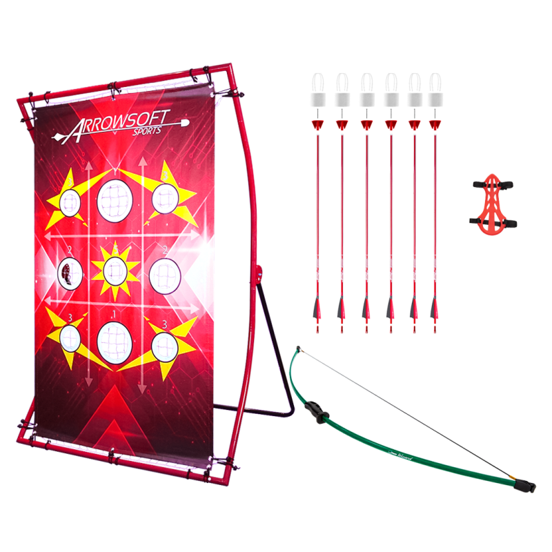 "Backyard beginner archery set with beginner recurve bow, carbon fiber arrows with foam-tipped arrowheads, and ""Red X"" target board 