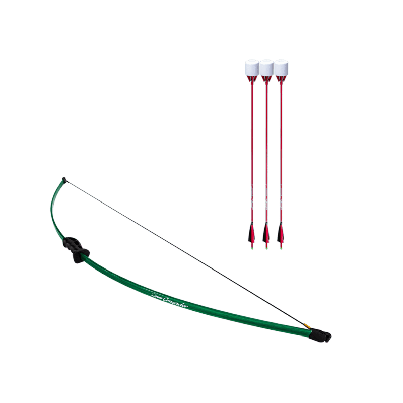 archery set with crusader beginner recurve bow and 3 red carbon fiber arrows with foam tip arrowheads arrowsoft sports