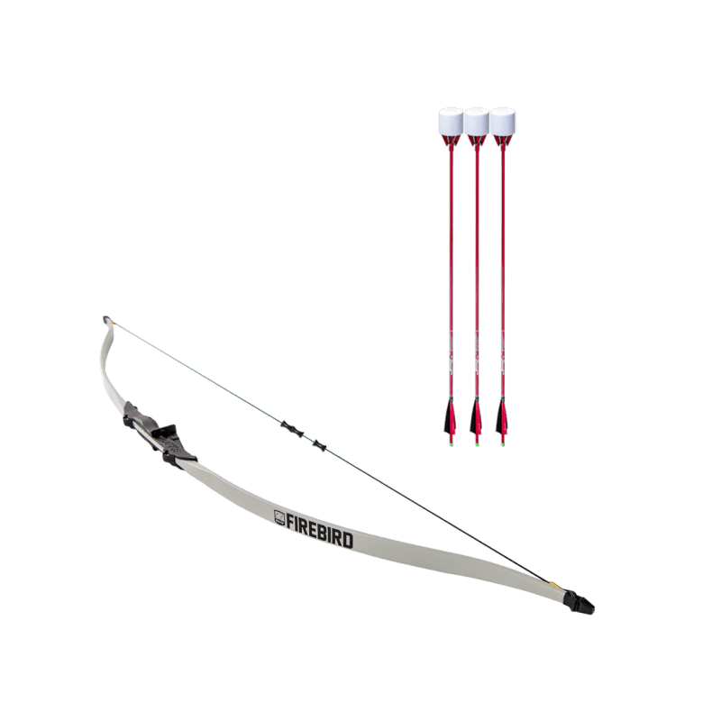 archery set with firebird beginner recurve bow, dacron bowstring, and 3 red carbon fiber arrows with foam tip arrowheads arrowsoft sports