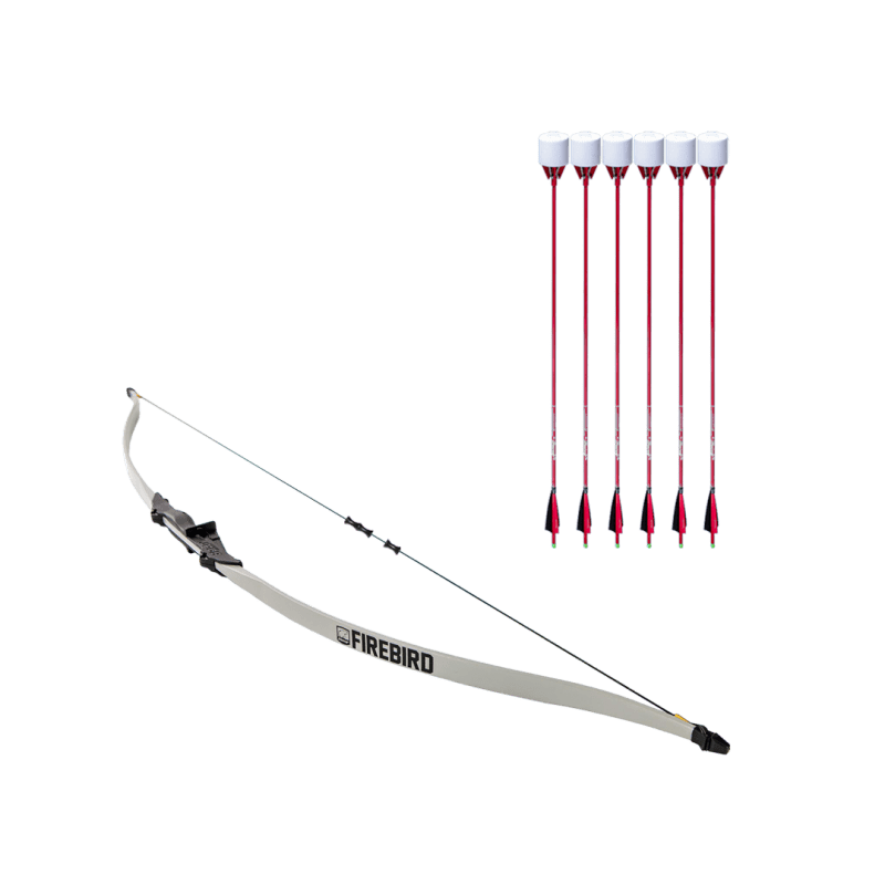 archery set with firebird beginner recurve bow, dacron bowstring, and 6 red carbon fiber arrows with foam tip arrowheads arrowsoft sports