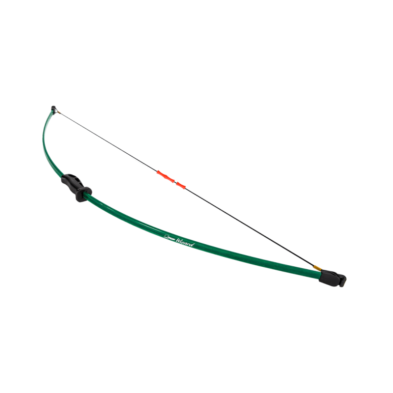 Bear Archery WIZARD beginner kids archery bow with red finger guards on braided nylon bowstring