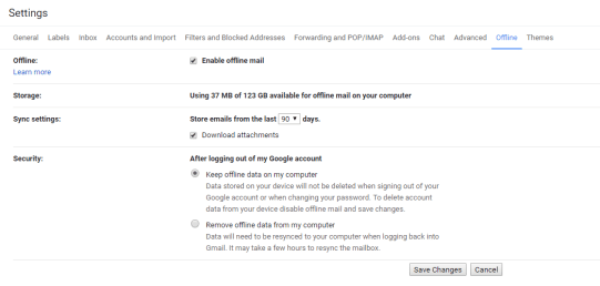 Enable gmail offline mode