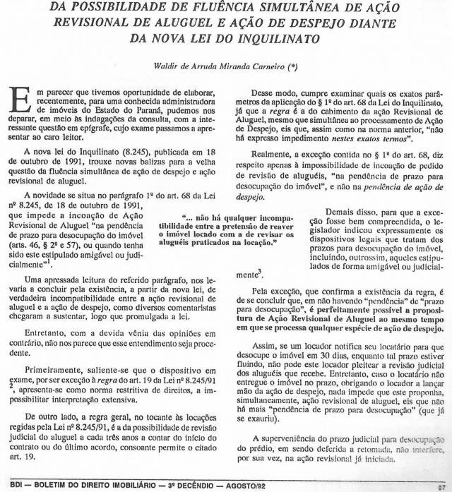 1992-08_DaPossibilidadedeFluênciaSimultâneadeAçãoRevisionalDeAluguel0001