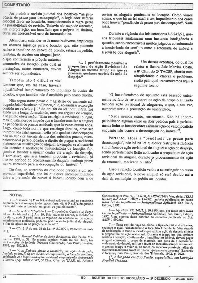 1992-08_DaPossibilidadedeFluênciaSimultâneadeAçãoRevisionalDeAluguel0002