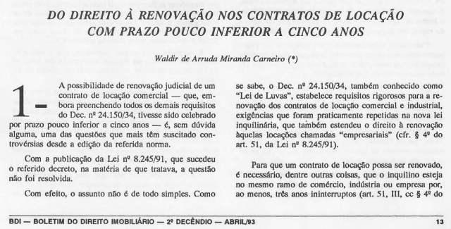 1993-04_DoDireiroàRenovaçãoNosContratosdeLocaçãoComPrazoPoucoInferioraCincoAnos_1_Página_1