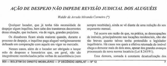 1997-04_AçãodeDespejoNãoImpedeRevisãoJudicialDosAlugueis_