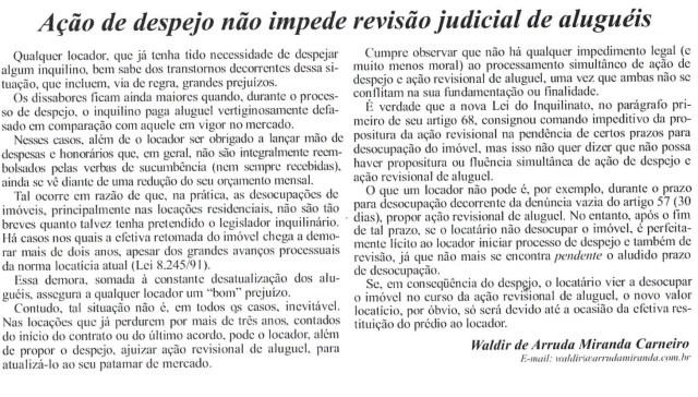 (2006-07-01)_AçãodeDespejonãoImpedeRevisãoJudicialdeAlugueis_(BolAMA)