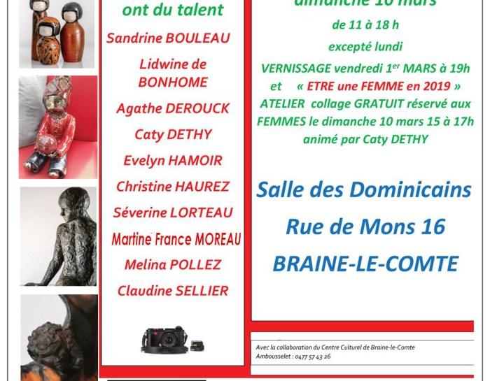 Sandrine Bouleau et Martine Fance Moreau exposent du 1er mars au 10 mars à Braine-le-Comte