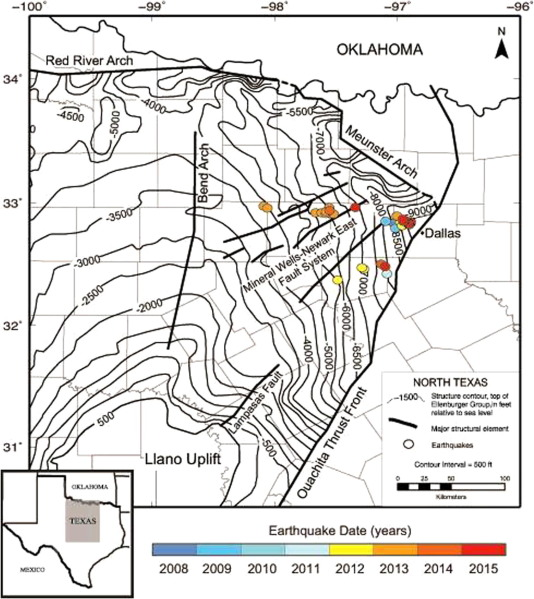 Map of the Bend-Arch Fort Worth Basin showing earthquake epicenters reported in ...
