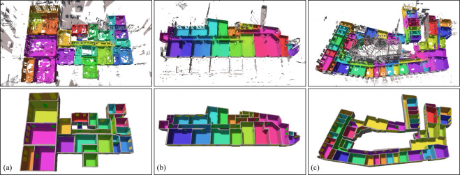 Example results on point clouds with 33, 43, and 67 scans. Upper row: point ...