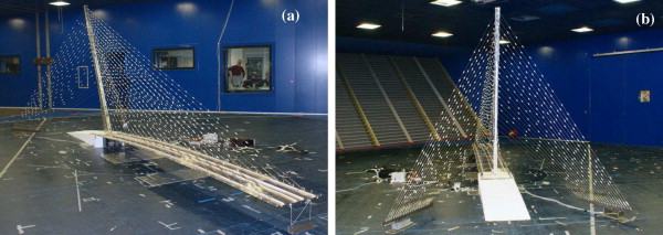 The aeroelastic model mounted in the test chamber. (a) front view, (b) back ...
