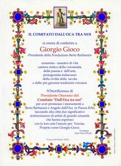 pergamena a a Giorgio Gioco