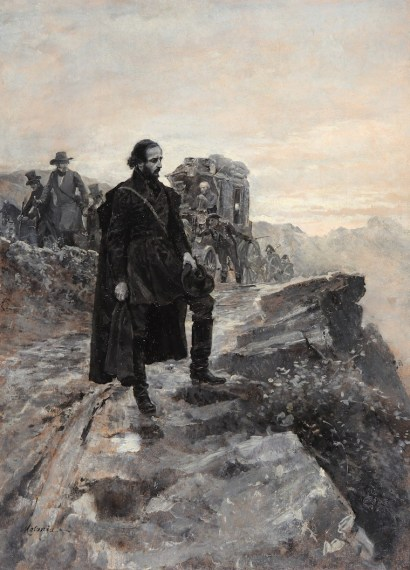 Edoardo Matania_Giuseppe Mazzini in via per l_esilio, olio su carta, 47 x 34 cm