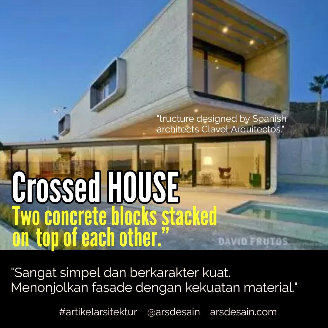 Rumah Minimalis Beton Saling Bersilangan Berkarakter Kuat