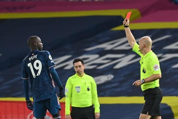 Leeds United vs Arsenal, Nicolas Pepe red card