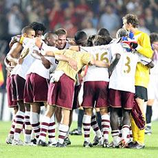 Arsenal celebrate their win over Sparta Prague