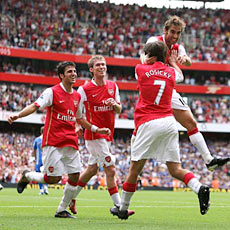 The celebrations against Portsmouth displayed Arsenal's team spirit