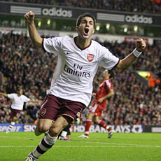 Fabregas celebrates his clever equaliser