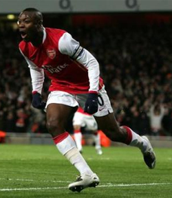 Gallas celebrates his crucial goal