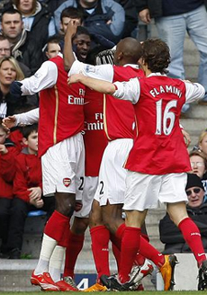 Arsenal celebrate being back on top of the table