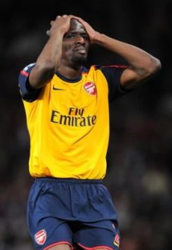 Diaby had a tough night at Old Trafford