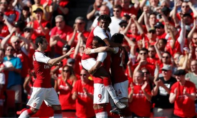 ARSENAL PLAYERS CELEBRATE AFTER SCORING TODAY AGAINST BURNLEY
