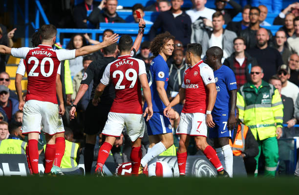 David Luiz sent off during match against Chelsea