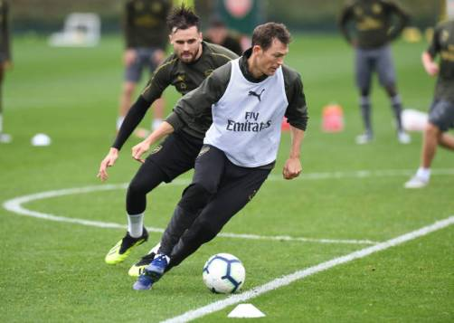 ST ALBANS, ENGLAND - OCTOBER 17: of Arsenal during a training session at London Colney on October 17, 2018 in St Albans, England. (Photo by Stuart MacFarlane/Arsenal FC via Getty Images)