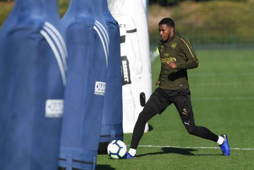 ST ALBANS, ENGLAND - OCTOBER 21: Ainsley Maitland-Niles of Arsenal during the Arsenal Training Session at London Colney on October 21, 2018 in St Albans, England. (Photo by David Price/Arsenal FC via Getty Images) *** Local Caption *** Ainsley Maitland-Niles