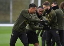 ST ALBANS, ENGLAND - OCTOBER 27: Pierre-Emerick Aubameyang and Alexandre Lacazette of Arsenal during the Arsenal Training Session at London Colney on October 27, 2018 in St Albans, England. (Photo by David Price/Arsenal FC via Getty Images) *** Local Caption *** Pierre-Emerick Aubameyang; Alexandre Lacazette