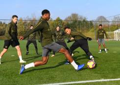 ST ALBANS, ENGLAND - NOVEMBER 21: (L-R) Zech Medley and Pierre-Emerick Aubameyang of Arsenal during a training session at London Colney on November 21, 2018 in St Albans, England. (Photo by Stuart MacFarlane/Arsenal FC via Getty Images) *** Local Caption *** Zech Medley;Pierre-Emerick Aubameyang