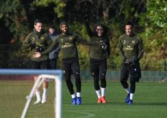 ST ALBANS, ENGLAND - NOVEMBER 21: (L-R) Laurent Koscielny, Alex Lacazette, Matteo Guendouzi and Pierre-Emerick Aubameyang of Arsenal during a training session at London Colney on November 21, 2018 in St Albans, England. (Photo by Stuart MacFarlane/Arsenal FC via Getty Images) *** Local Caption *** Laurent Koscielny;Alex Lacazette;Matteo Guendouzi;Pierre-Emerick Aubameyang