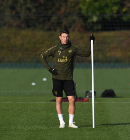 ST ALBANS, ENGLAND - NOVEMBER 21: Laurent Koscielny of Arsenal during a training session at London Colney on November 21, 2018 in St Albans, England. (Photo by Stuart MacFarlane/Arsenal FC via Getty Images)