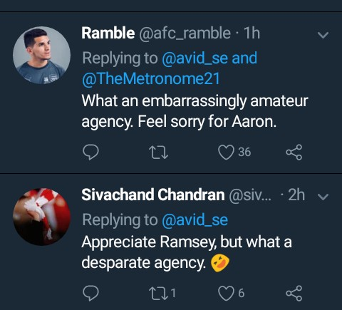 Arsenal Fans frustrated with Ramsey's representatives