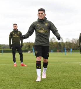 ST ALBANS, ENGLAND - APRIL 27: of Arsenal during a training session at London Colney on April 27, 2019 in St Albans, England. (Photo by Stuart MacFarlane/Arsenal FC via Getty Images)