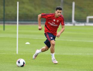 ST ALBANS, ENGLAND - JULY 06: Gabriel Martinelli of Arsenal during a training session at London Colney on July 06, 2019 in St Albans, England. (Photo by Stuart MacFarlane/Arsenal FC via Getty Images)