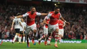 The Ox celebrates his goal
