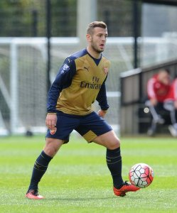 Jack Wilshere in action for Arsenal Under-21s today