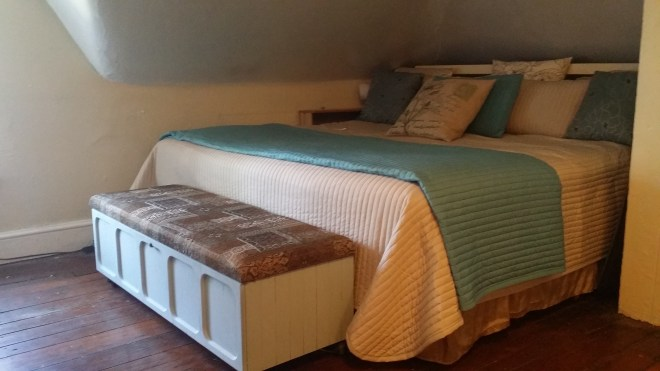 This peaceful bedroom used to be a dark and dingy